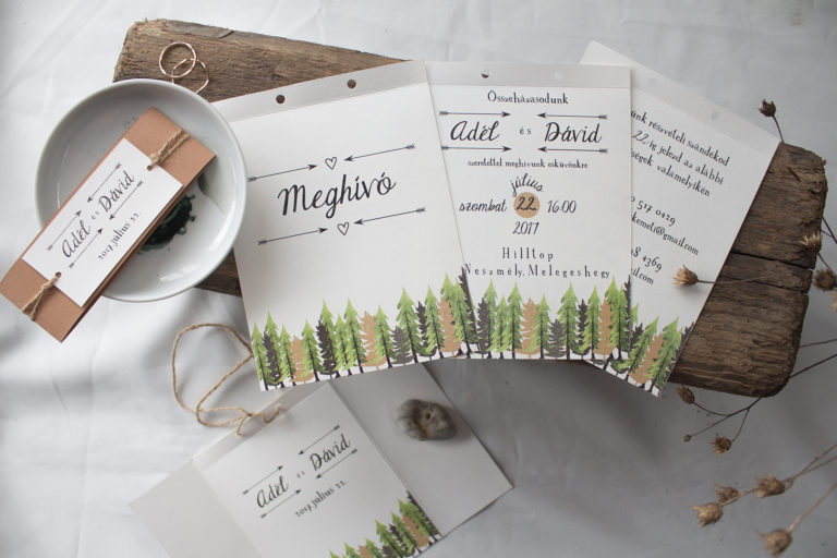 erdei esküvős meghívó