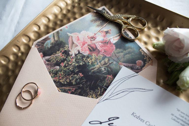 esküvői meghívó boríték