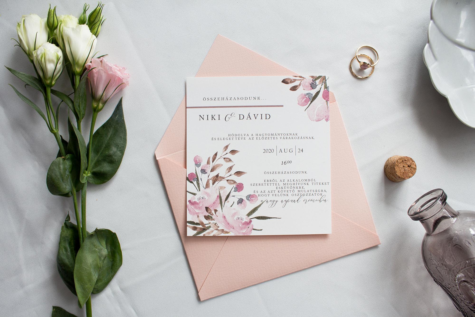 Rózsás esküvői meghívó