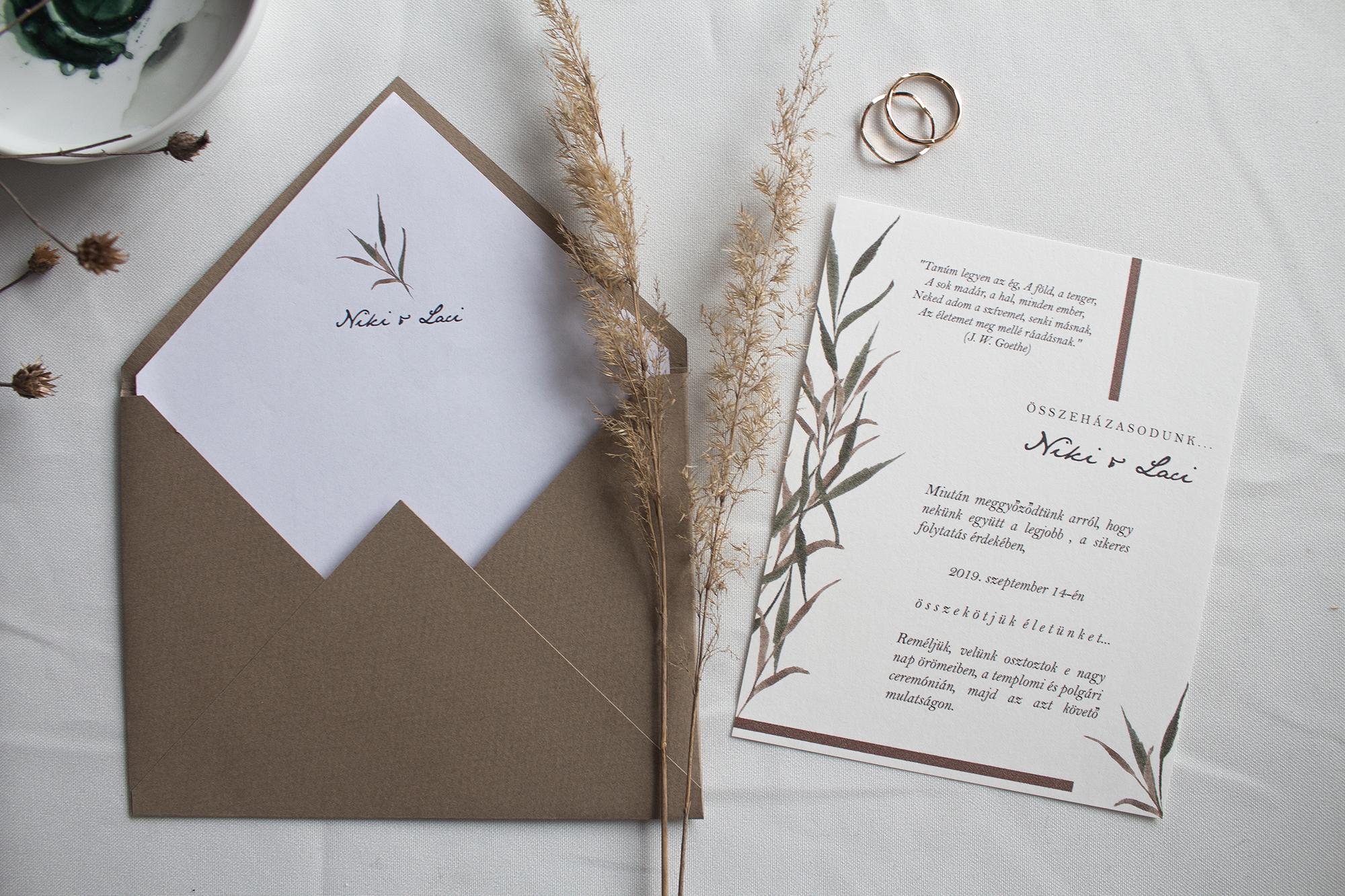 Nádas esküvői meghívó