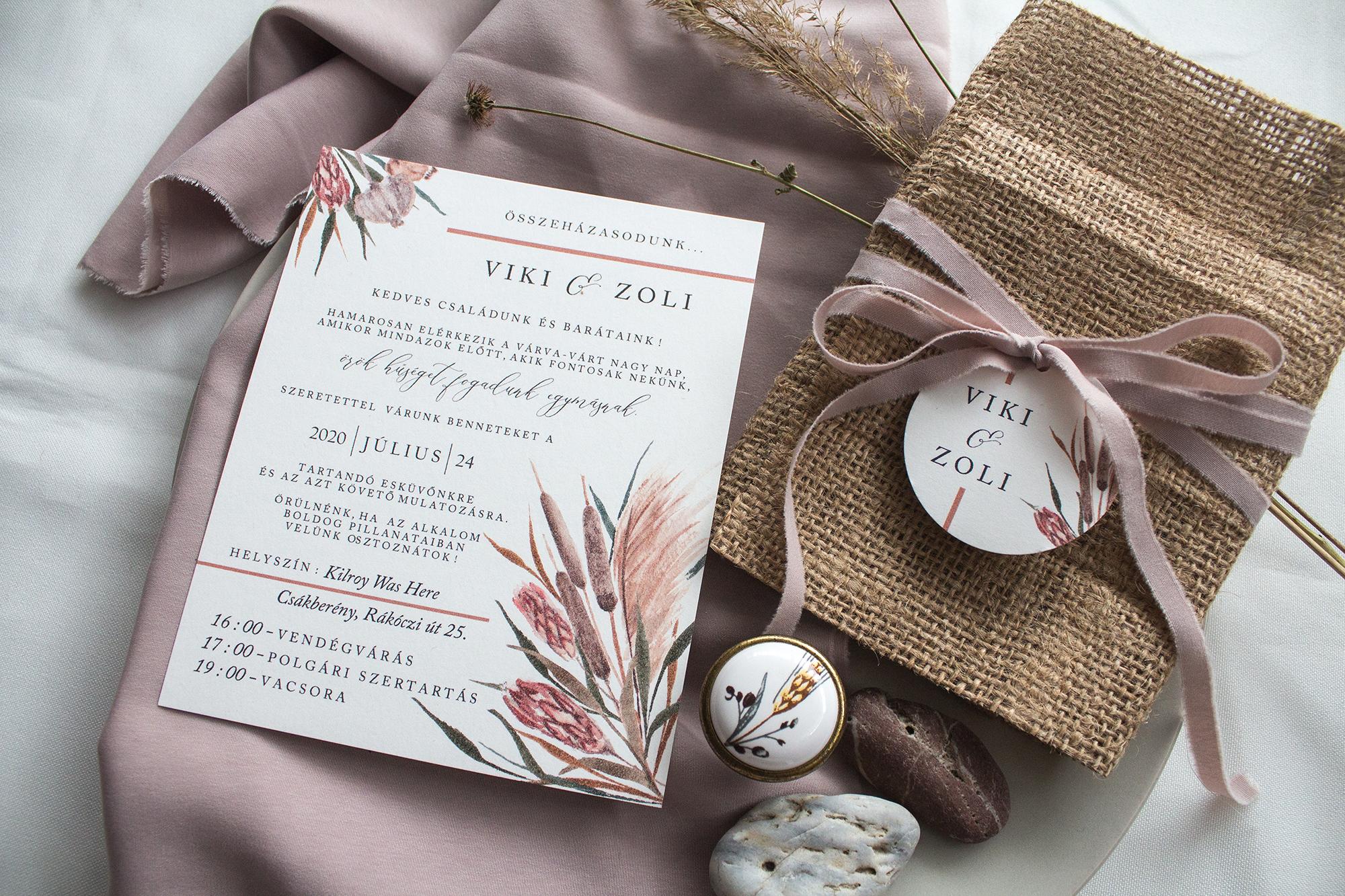 Szárazvirágos esküvői meghívó