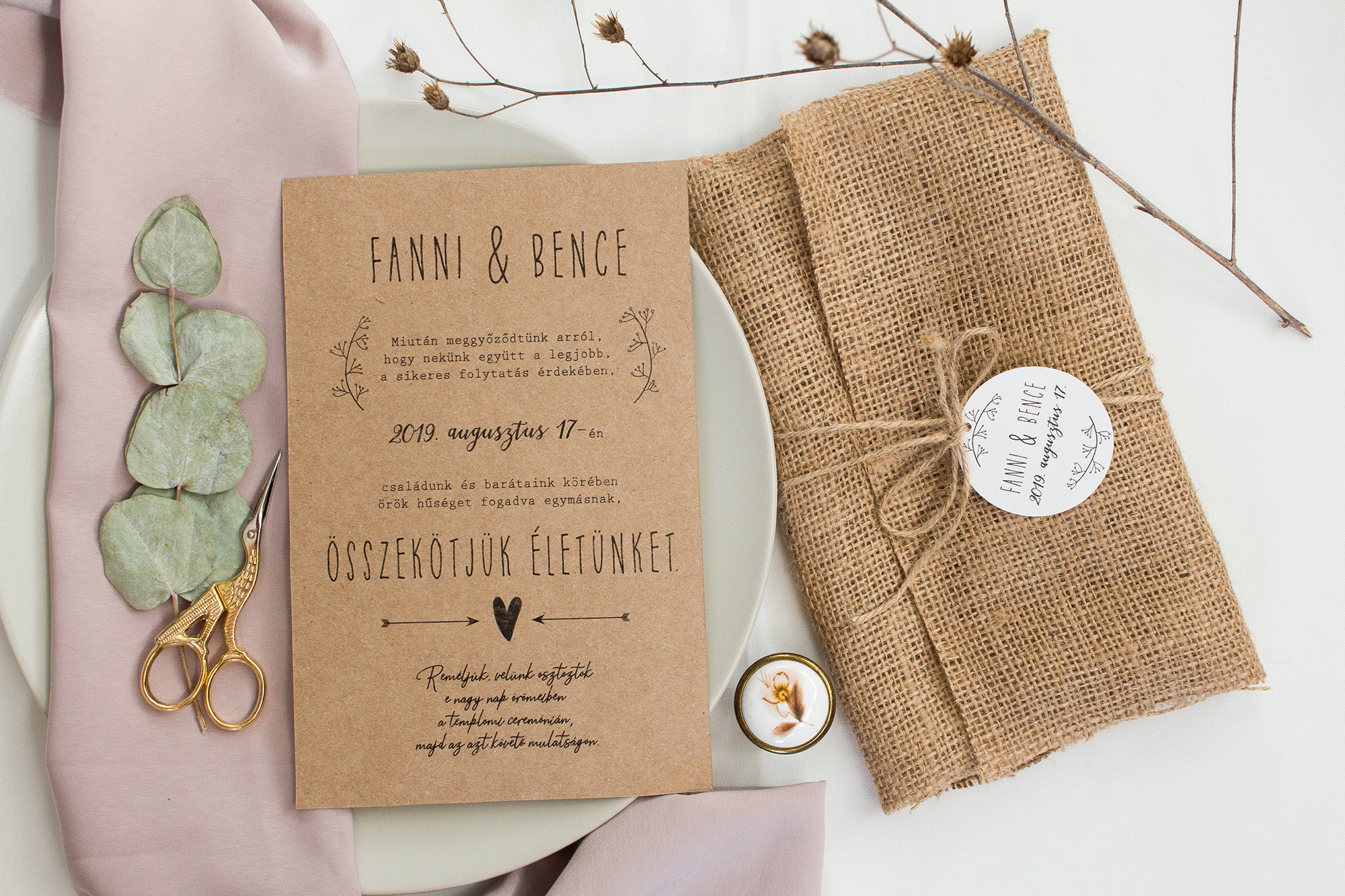 Natúr esküvői meghívó