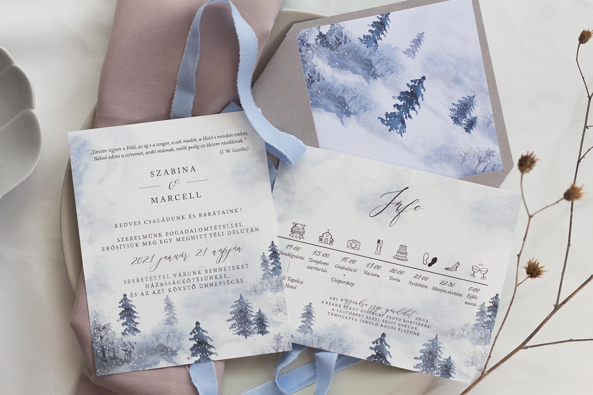 téli esküvői meghívók