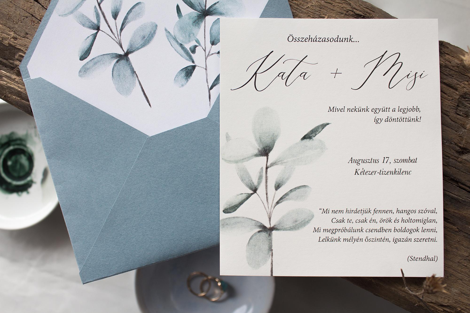 Eukaliptuszos esküvői meghívó