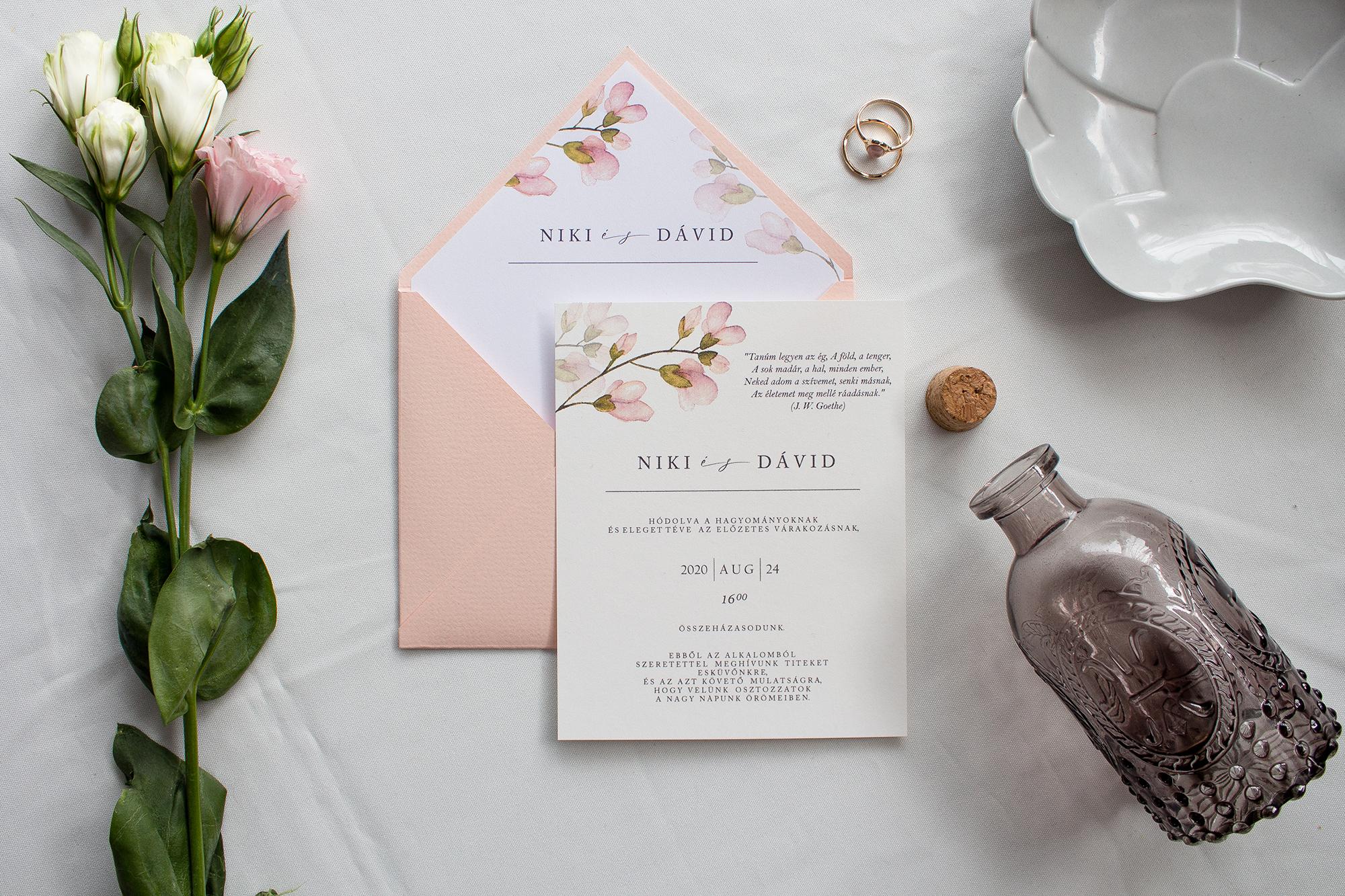 Orchideás esküvői meghívó