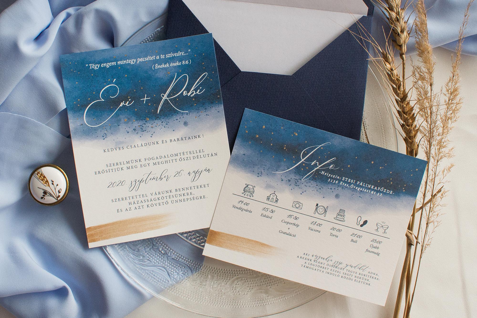 csillagos ég esküvői meghívó