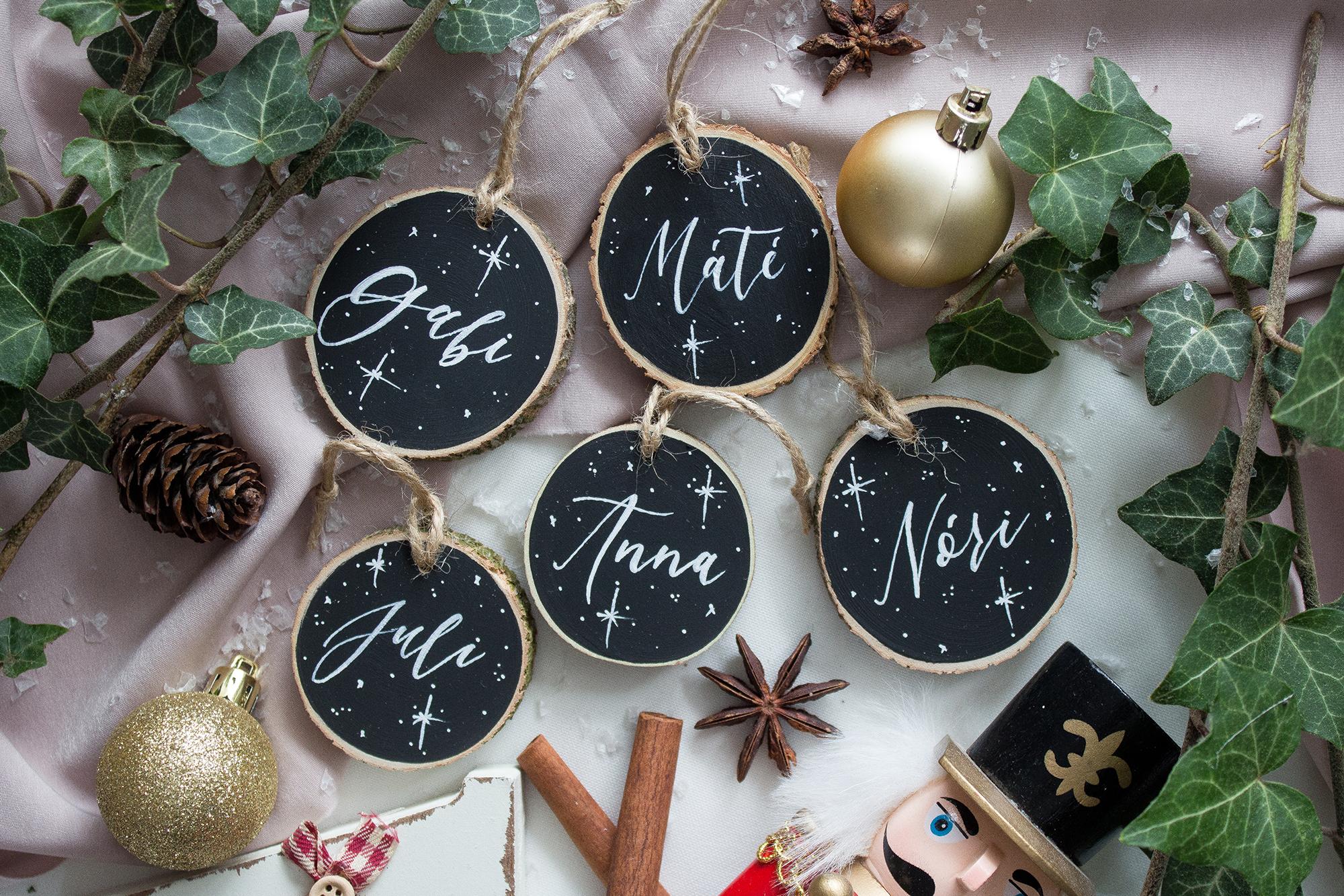 névre szóló karácsonyfadísz