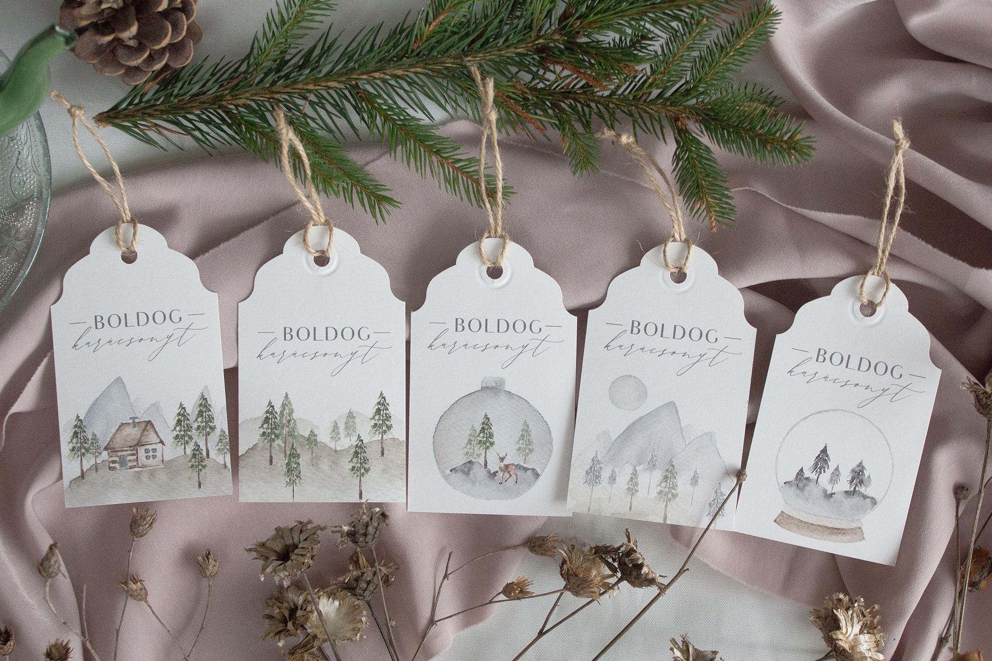 Fenyőerdős karácsonyi kísérőkártyák