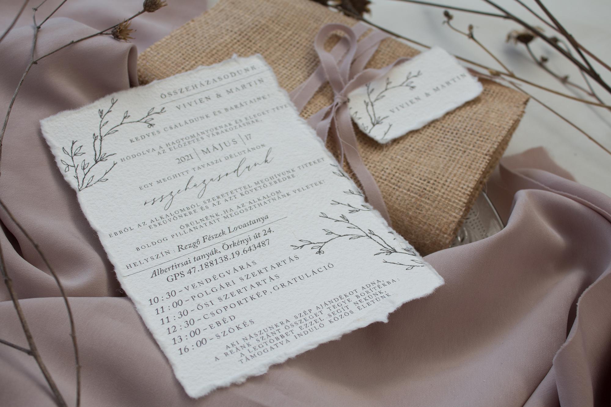 Merített papíros esküvői meghívó